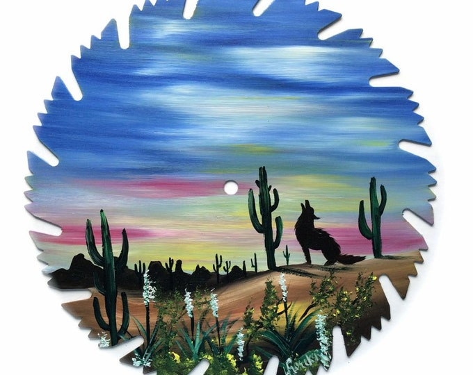 Hand Painted Saw Blade Southwestern Scenery Coyote