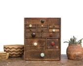Vintage Home Decor / 1930's / Primitive Wooden Storage & Supply Cabinet / Folk Art Pull Drawer Box