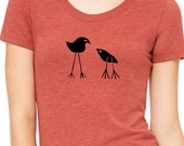 Two Birds Womens T shirt - Bella Triblend Scoop Neck - Mom and Baby  S,M,L,XL,2XL