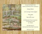 DIY Digital Printable Monet Water Lilies Wedding  Birthday  Party Invitation Template  Instant Download  Microsoft Word