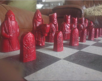 Isle of Lewis Chess Set with unusual Shield Biting Berserker - Two Extra Queens and Optional Vinyl Chess Board