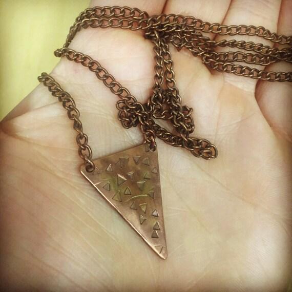 Mini Rustangle Copper Necklace