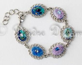 Cabochon Bracelet, Charm Bracelet, Bead Bracelet, Pastel Felt Bracelet, Boho Bridal Jewelry Eco Friendly Jewelry Fiber Jewelry Beach Wedding