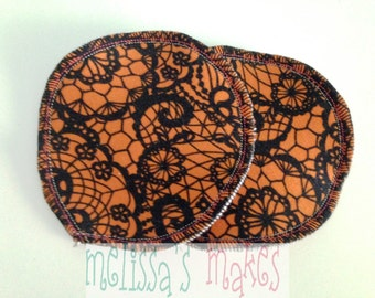 Orange Lace nursing pads, boob pads, breast pads, washable, reusable, breastfeeding pads, crunchy, cloth nursing pads, faux lace, Halloween