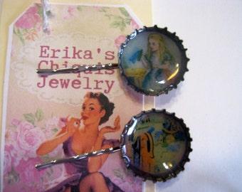 Alice in Wonderland  Bottle Cap Hair Pins 2