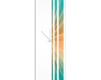 Large Modern Clock 'Tropical Triple Stripe Clock' by Adam Schwoeppe - Wall Decor Minimalist Accent Piece on Acrylic