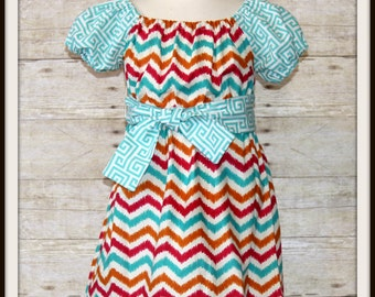 Girls Custom Chevron Dress, Aztec print Chevron Peasant Style Dress, Boutique Girls Dress, RTS, Size 2 3