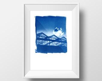 London Waterloo Sunset – handmade Cyanotype art print