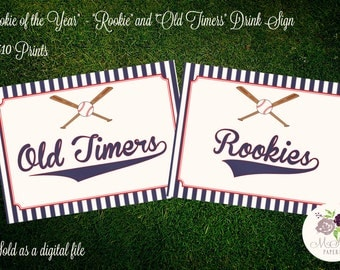 "PRINTABLE 8 x 10 Baseball Themed Drink Signs - ""Rookie & Old Timers"""