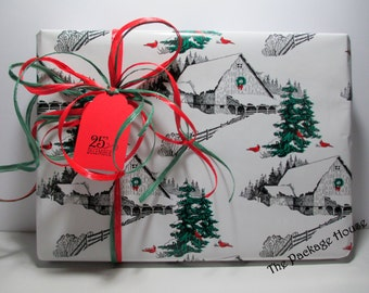 Christmas Gift Wrap, Christmas Wrapping Paper, Country Barn Christmas Gift Wrap, wrapping paper, paper runner, 10 ft x 24 in wide
