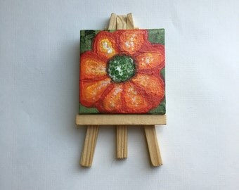 """Original Handmade Art- Mini Painting with Easel of a Red and Orange Wildflower/Flower in Acrylic on Canvas- Square 2.5"""""""