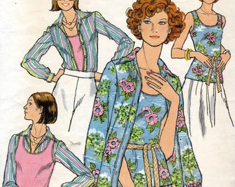 "1970s Women's Shirt, Blouse & Tank Top Pattern - Size 10, Bust 32 1/2""- Butterick 4725"