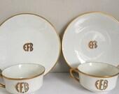 Vintage Limoges Haviland France Plate and Tea Cup EFB Monogrammed Gold Trimmed