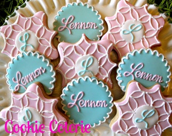 Monogrammed Baby Shower Bridal Shower Wedding Cookies One Dozen