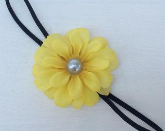 Yellow flower headband,Newborn headband,Photo props,Photography prop,Elastic headband