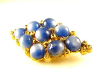 Blue Moonglow Brooch Diamond Shaped Gold Tone Rhinestone Beauty Vintage Blueberry Parfait