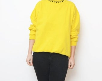 Vintage yellow women 90s sweatshirt / small