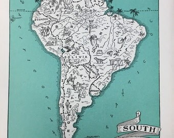 South America Map Illustration / Travel Map Rustic Geography / World Map Decor / Vintage Map Print / Travel Map Wall Art for Nursery Room