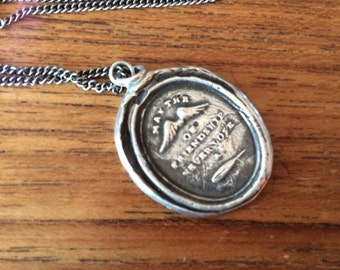 WAX SEAL PYRRHA Sterling Silver necklace May the Wings of Friendship never lose a Feather