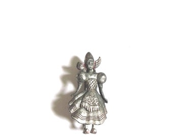 Vintage Little Dutch Girl Cast Metal Brooch