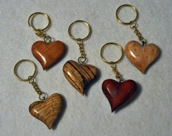 Wedding Favors     Wooden Heart Key Chain Variety  5 key chains Curly