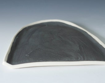 "9"" Long Matte Black / Grey + Raw Porcelain Half Tray / Platter, Pottery Handmade Ceramic Serving Cheese, Fish, Display - ready to ship"