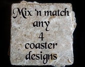 "Custom set -  tumbled tile measuring 4"" x 4"". Set of 4"