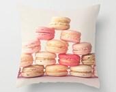 Pillow cover, neutral pillow, white pillow, french decor, nursery art, nursery decor, dorm decor, macaroon pillow, kitchen decor, macarons