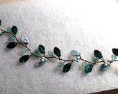 Emerald Green, Mint and Powder Blue Vine Necklace