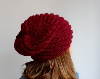 Handknit beanie, burgundy beanie, chunky hat, spiral knitting beanie. womens winter hat...