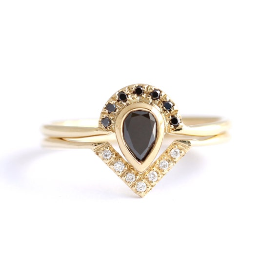 Black Diamond Bridal Set Black Pear Diamond Engagement by artemer