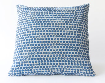 Sample Sale! Dot Block Print Pillow in Denim Blue