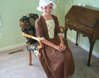 Girls Colonial Costume/Dress and Cap--Modest Dress in Colonial Brown-Available Size 9/10--Hamilton Era, Williamsburg, Presentations or Plays