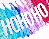 Ho Ho Ho Glitter Banner/Christmas Party Banner/Holiday Banner/Christmas Decoration/Hostess Gift/Christmas Glitter Banner/Gift For Girls