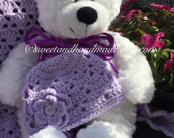 Crochet baby hat lavender lilac with a matching flower with button center newborn size spring crochet baby hat