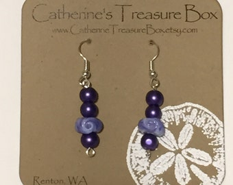 Handmade Lavender and Purple Art Glass Bead Earrings with Purple Glass Pearls on Gold Plated French Hook Ear Wires