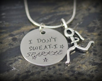 I Don't Sweat I Sparkle Personalized Runner Necklace - Inspirational Jewelry - Running Jewelry