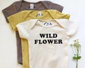 WILD FLOWER - Organic Baby One-piece - Spring baby - Wildflower - Hippie - Boho Baby - Wild Romper