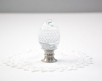Crystal Egg Paperweight - Diamond Star With Pewter Base