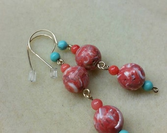 Mother of pearl and epoxy bead earrings with coral and turquoise accents on gold filled findings