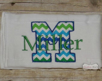 Blue & Green Chevron Embroidered Burp Cloth with Name and Initial