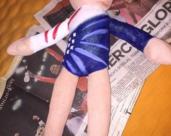 Aly Raisman inspired 18 inch gymnast doll 2012 style
