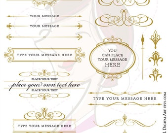 Antique Gold Frames Swirl Monogram Vector Clipart Calligraphy Digital Text Divider Business Logo Branding DIY Wedding Invitations 10689