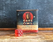 Vintage Spice Tin, Safe Owl Spice Tin, Advertising Tin, Ground Sage Spice Tin