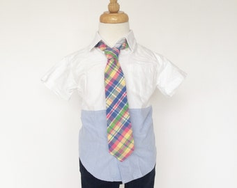 Pink, Blue and Green Plaid Necktie for Boys