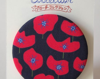 "Brooch with our original fabric ""Coquelicot (Poppy)"" big flowers-black"