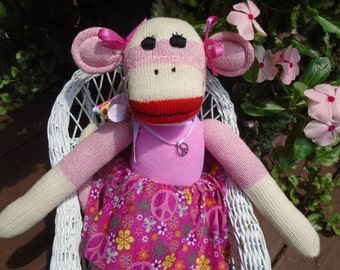 Pink Flower/Peace Sign  Power Classic Red Heel Sock Monkey Girl Doll