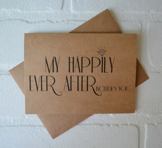 My HAPPILY EVER after includes you MAID of honor card will you be my bridesmaid card bridal proposal wedding party kraft matron of honor