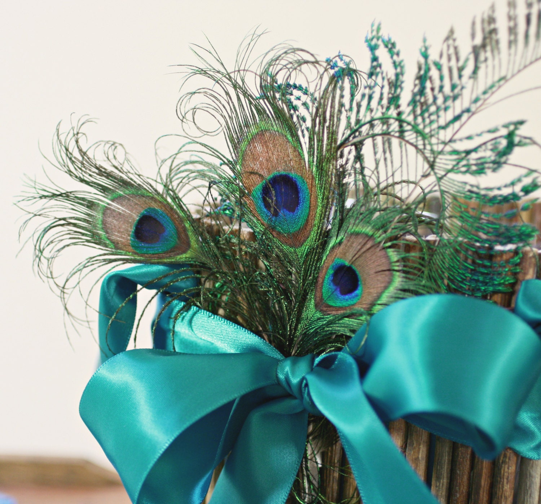 Flower Girl Baskets Peacock : Curly peacock flower girl basket turquoise teal