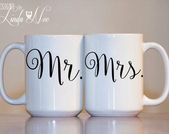 Sr. y Sra. taza Set, novia y el novio taza, Sr. y Sra. aniversario tazas, taza de pareja de boda Set personalizada Sr. y Sra. tazas de Sr. y Sra. MPH72